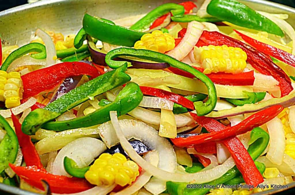 Red Curry Cumin Peppers Onions & Corn in Brown Butter