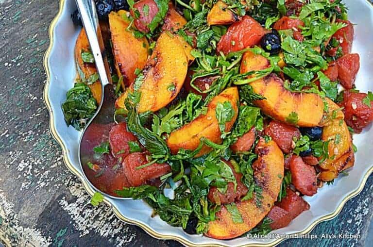 cast iron skillet grilled fruit salad