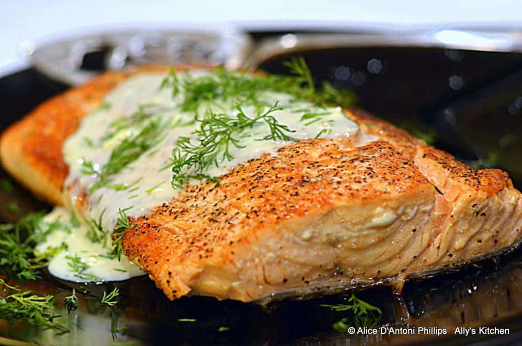 Skillet Salmon with Blue Cheese Dill
