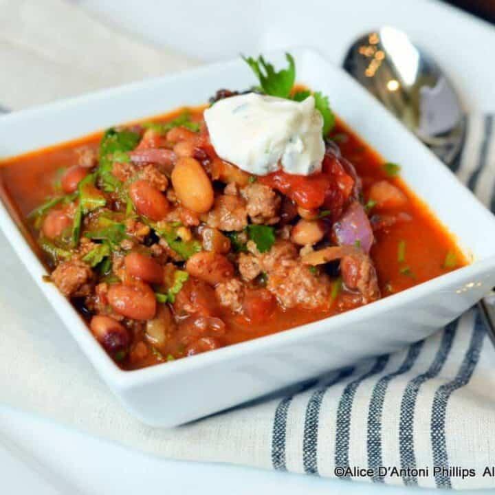 Spicy Chunky Anasazi Bean Chili