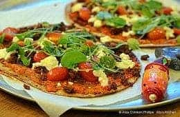Buffalo Chorizo Flatbread Pizza with Charred Red Bells and Scallion Sauce