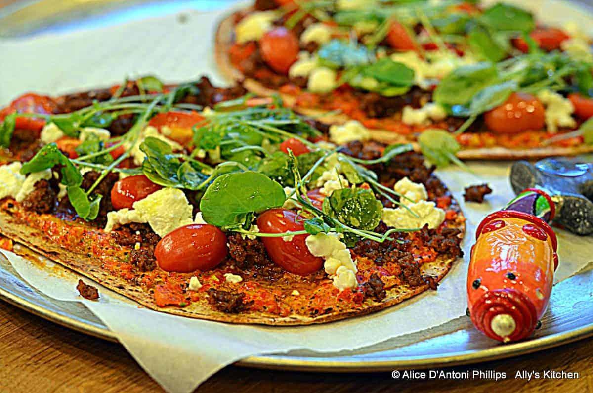 Buffalo Chorizo Flatbread Pizza with Charred Red Bells and Scallion Sauce