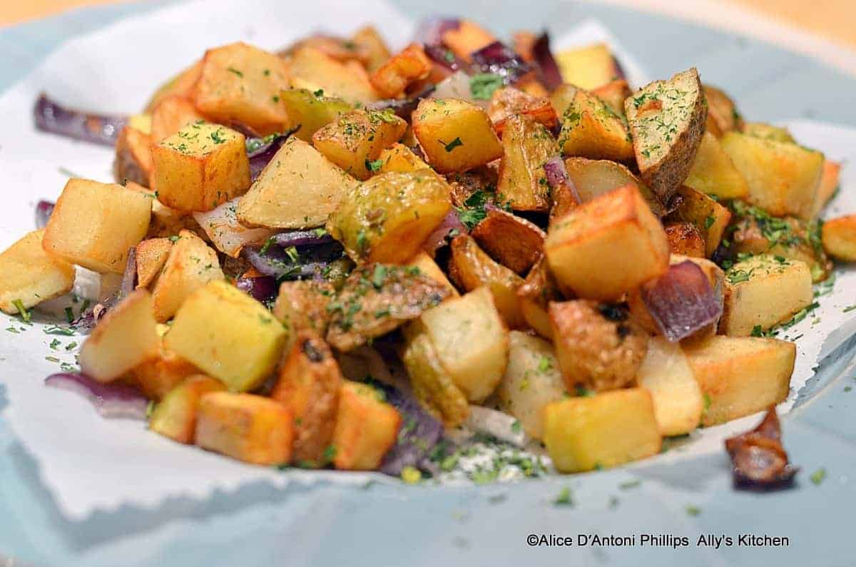 Fried Potatoes With Herbs Red Onions