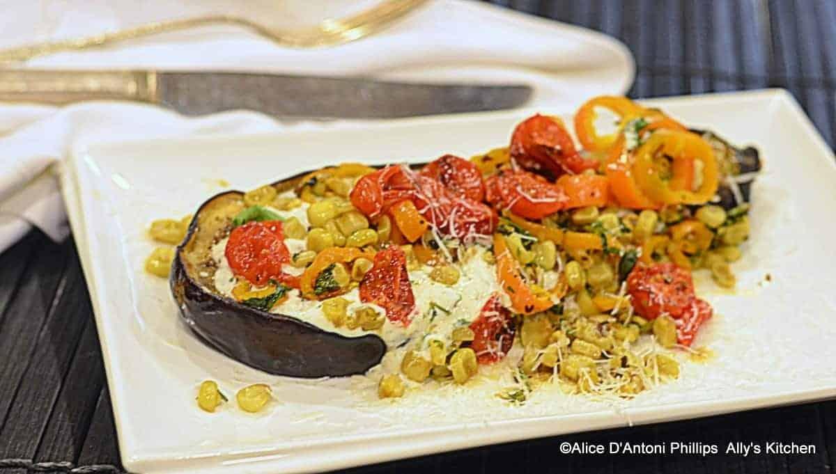 Roasted Eggplant with Buttermilk Lime Cilantro Sauce & Corn Confit