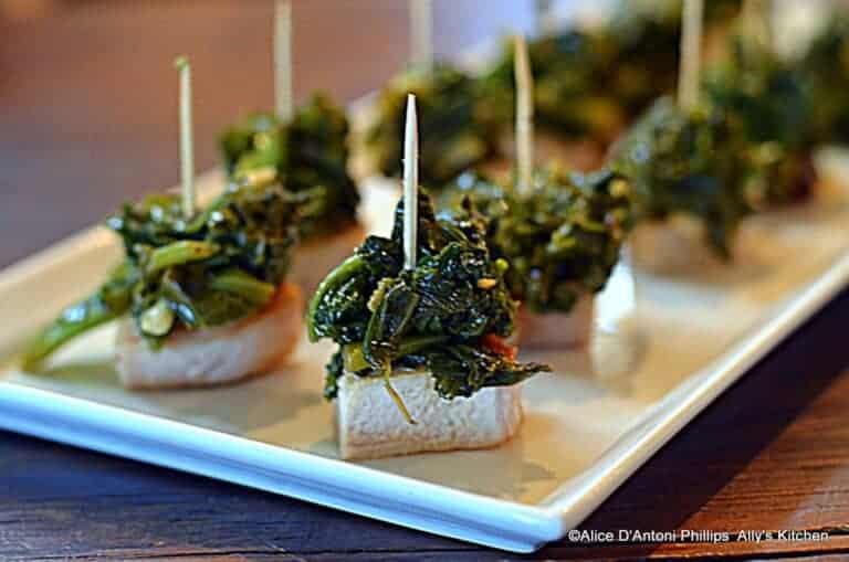Grilled Pork Chop & Mustard Green Bites