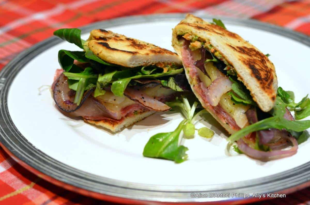 Spicy Italian Genoa Salami Red Onion & Veggie Sauce Sandwich Folds