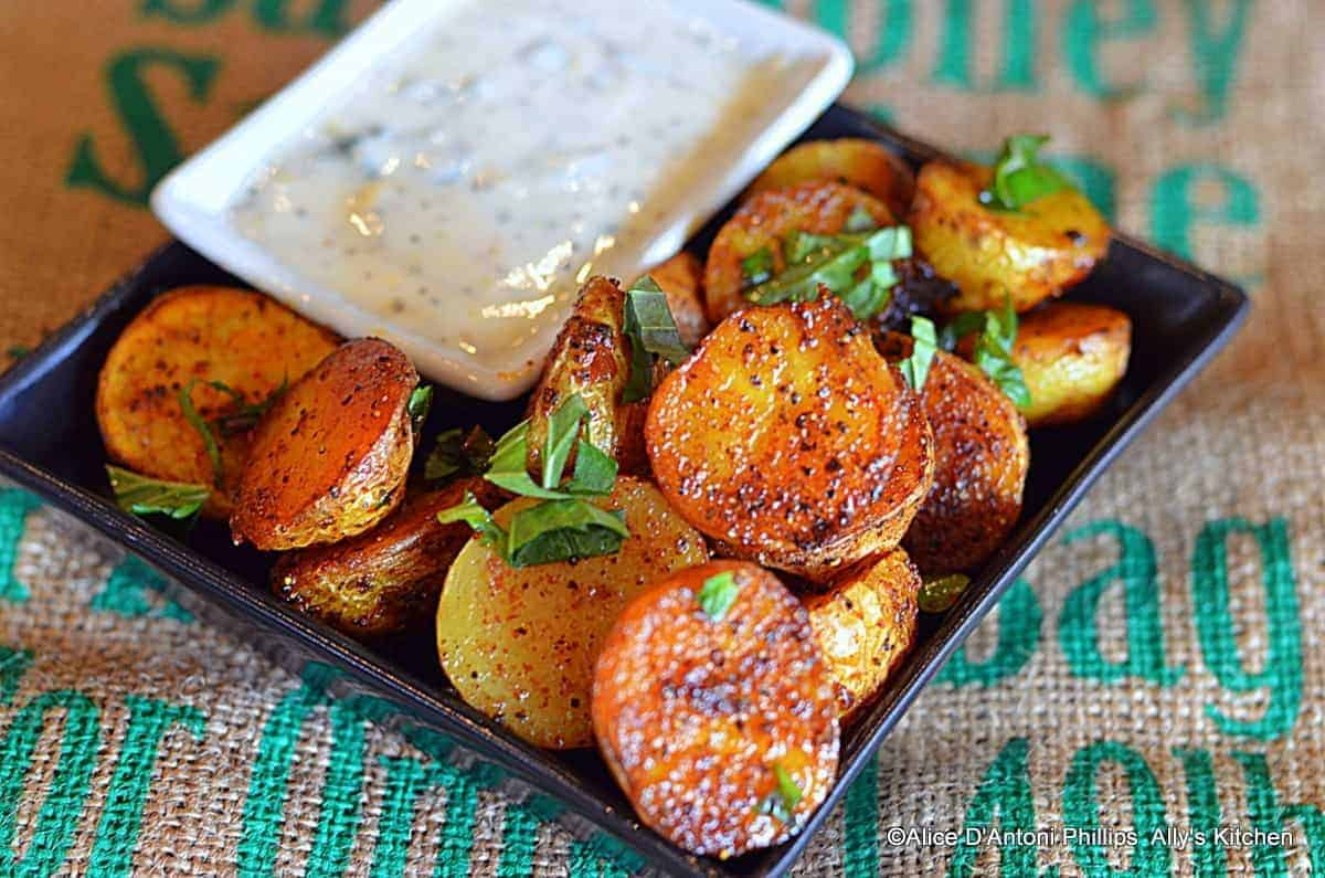 Ras el Hanout Roasted Baby Gold Potatoes with Labneh Sauce