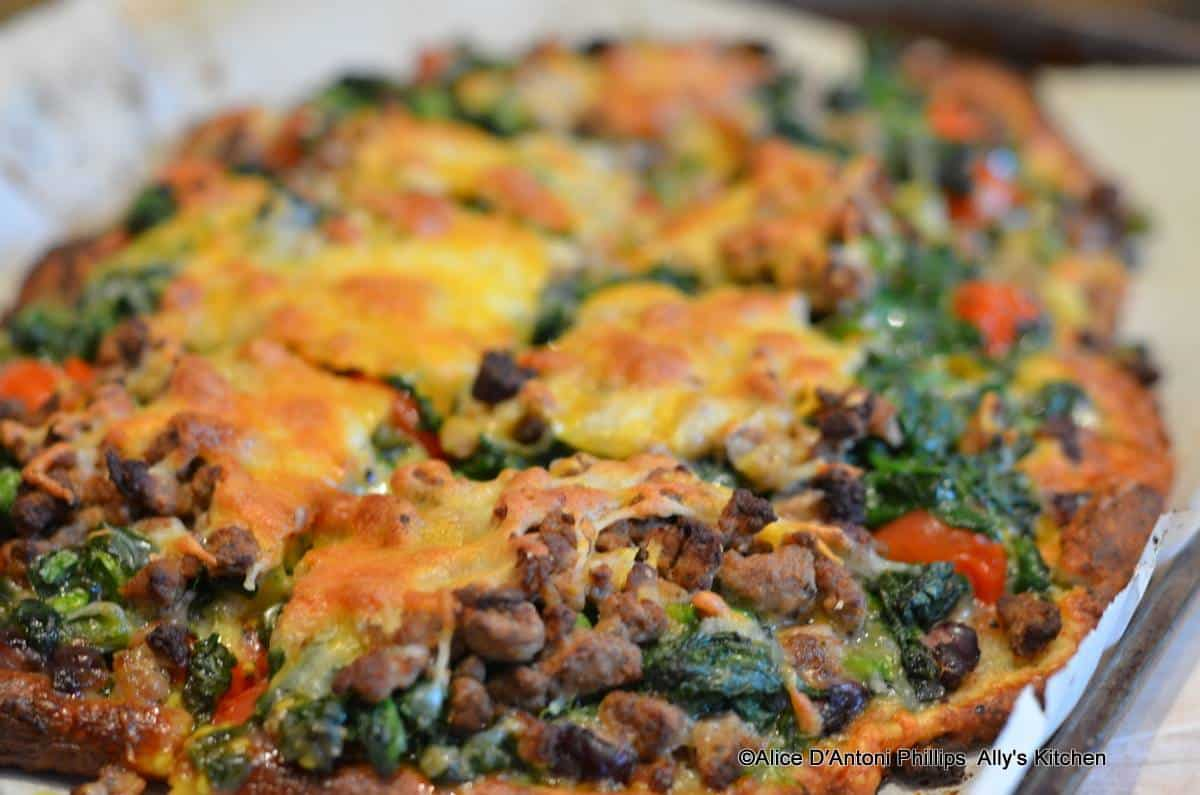 Black Bean Spinach & Cherry Tomato Pizza
