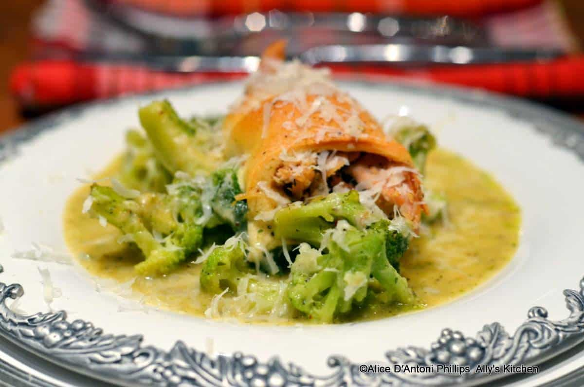 Tuscan Broccoli in White Wine Sauce with Italian Chicken Wraps