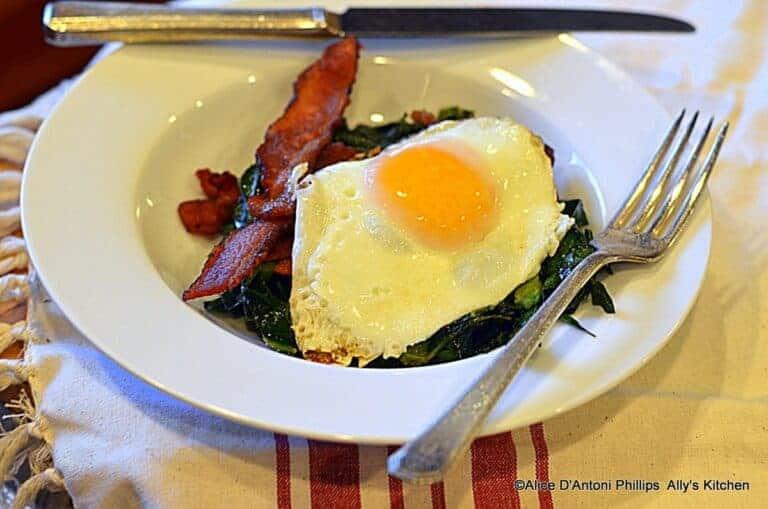 southern collards eggs & bacon