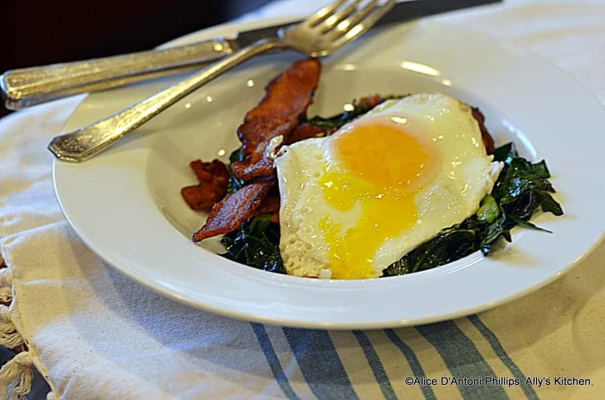 Southern Eggs Collards & Thick Smoked Bacon