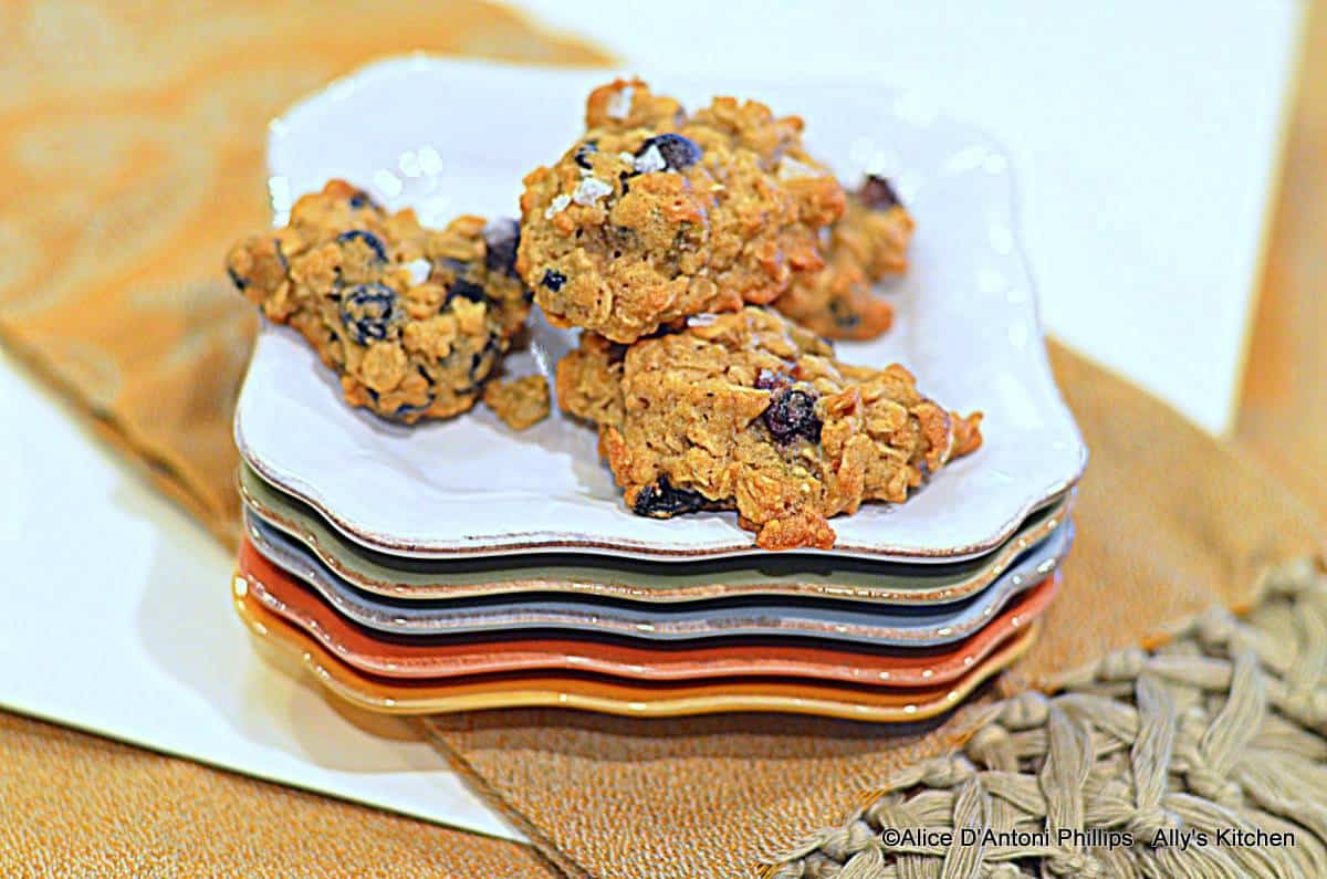 Wild Blueberry & Salty Pistachio Oatmeal Cookies with Sea Salt Flakes
