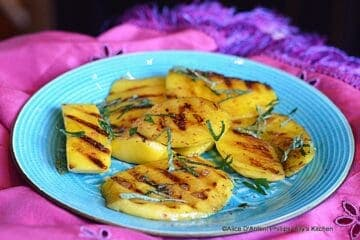 Grilled Fresh Mango with Sea Salt Pink Peppercorns & Fresh Mint