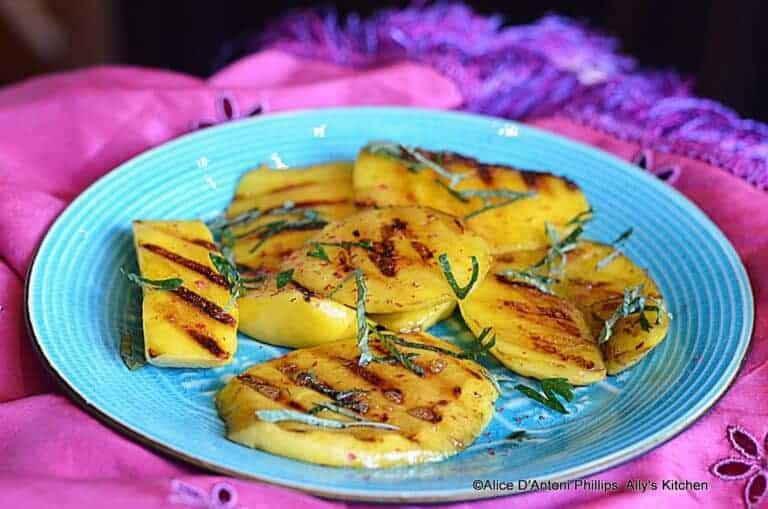 Grilled Fresh Mango with Sea Salt Pink Peppercorns & Fresh Mint