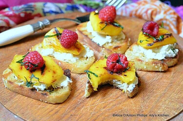 Grilled Mango & Raspberry Mint Crostini