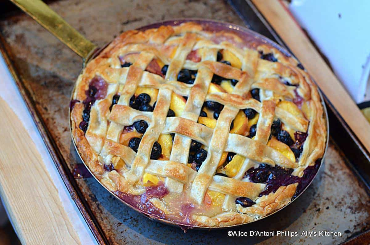Fresh Palisade Peach Blueberry Skillet Pie