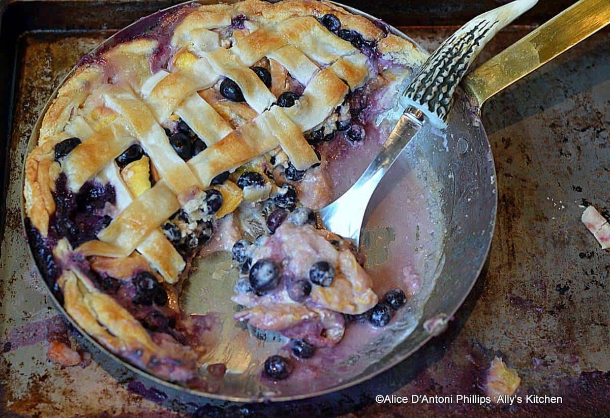 Fresh Palisade Peach Blueberry Skillet Pie