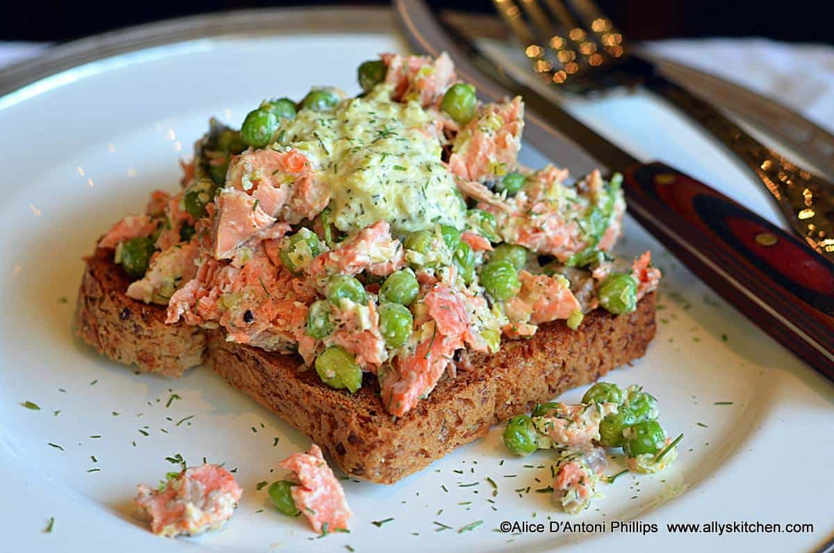 Salmon Salad with Mint Pepper Jelly Peas