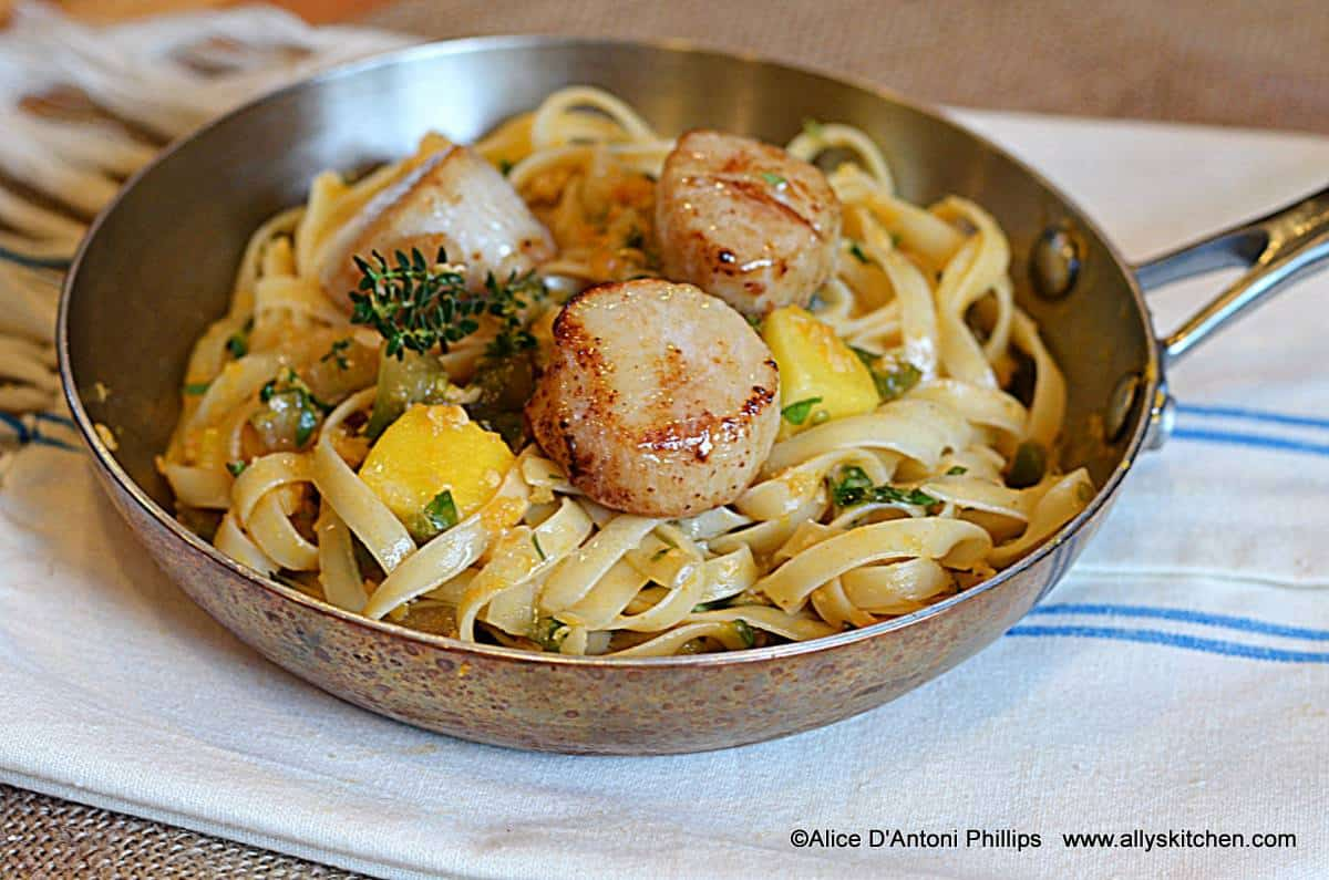 Caribbean Tagliatelle with Pan Seared Scallops