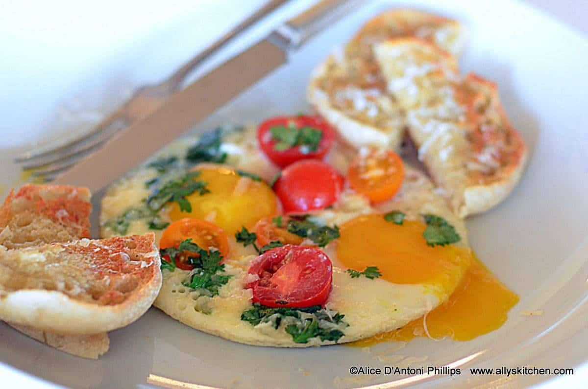 ... oven broiler and toast to a golden brown. Serve with the caprese eggs