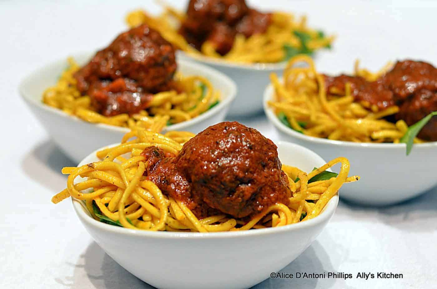 Moroccan Meatballs & Lemon Pepper Angel Hair Pasta