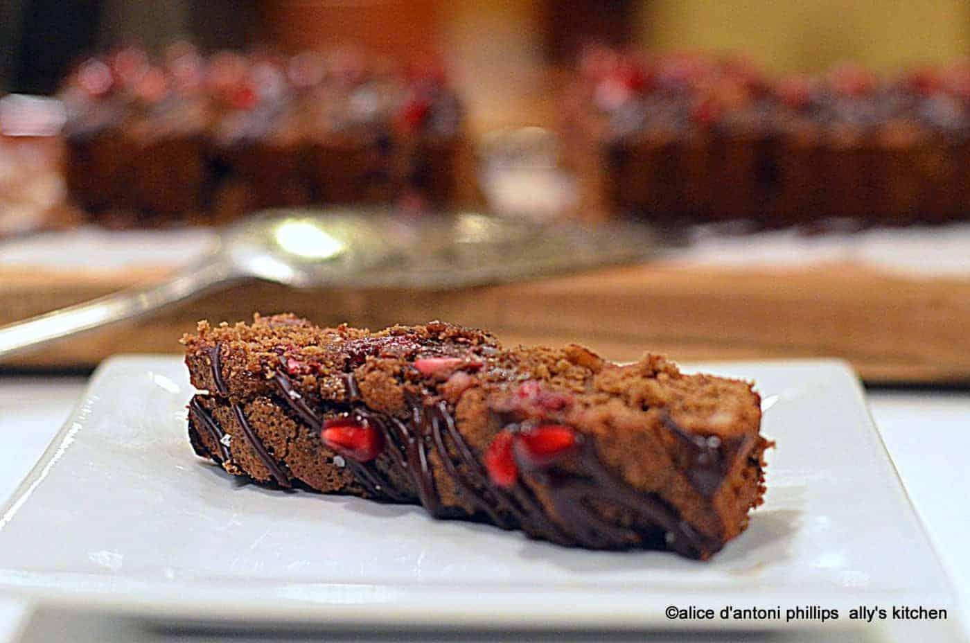 Bourbon & Chocolate Pomegranate Cake Squares