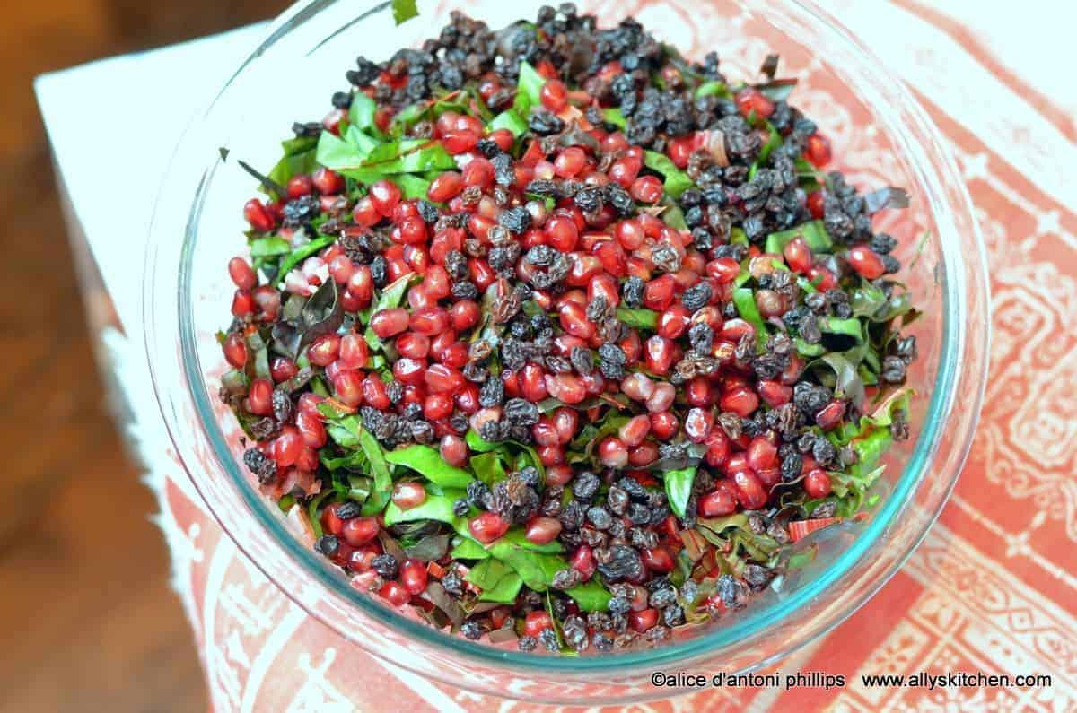 ~red chard pomegranate & currant salad~