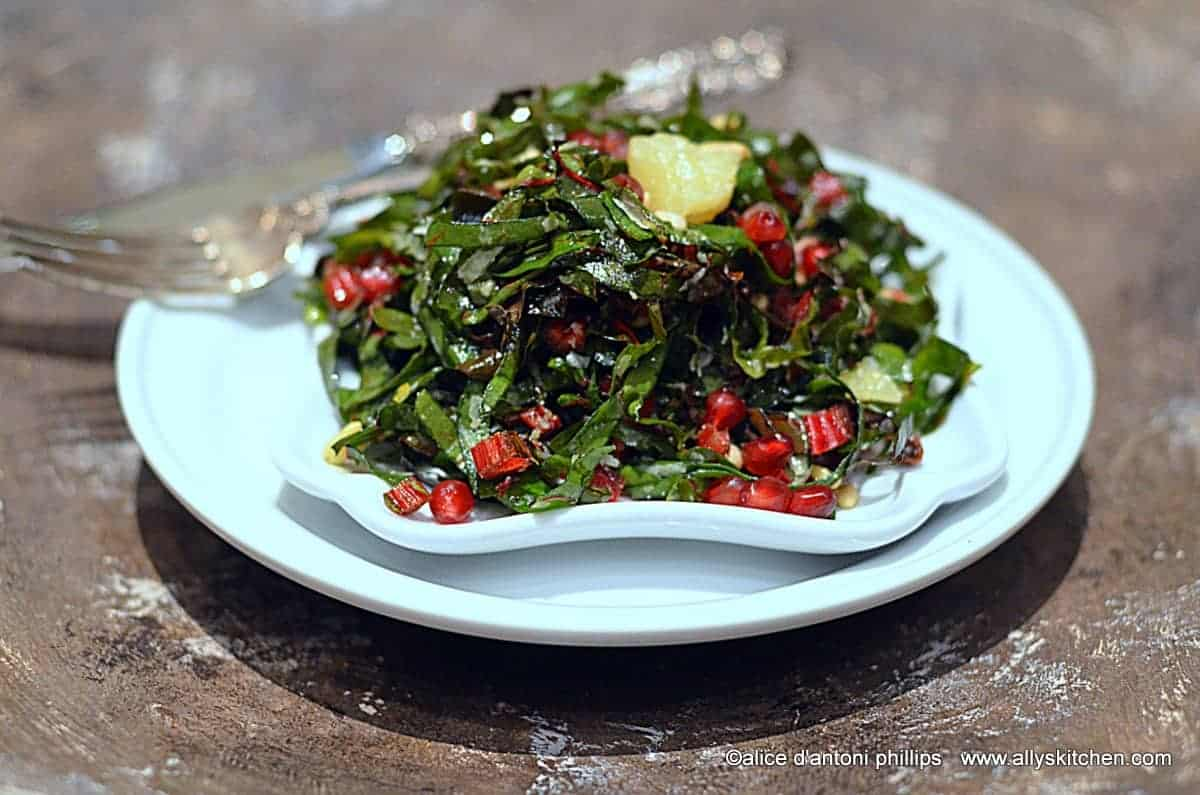 ~red chard pomegranate & currant salad~