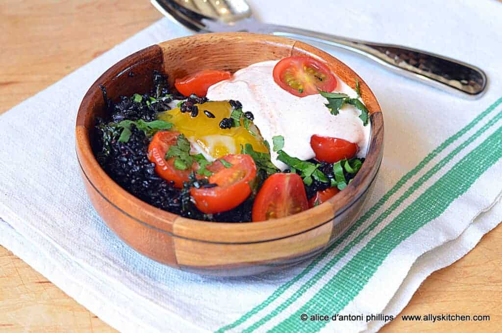 Jerusalem Eggs with Black Forbidden Rice & Quinoa