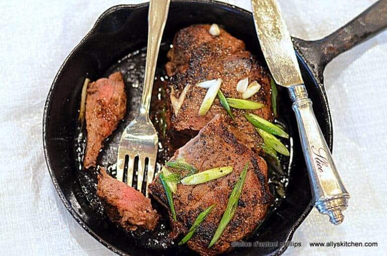 cast iron skillet new york strip steak