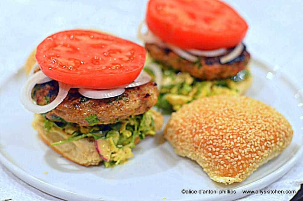 ~asian burgers with spicy savoy cabbage slaw~