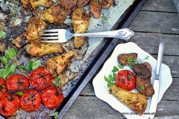 ~al fresco summer chicken tomatoes & purple potatoes~