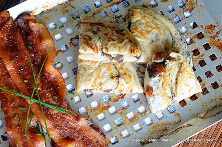 Date & Chia Grilled Bread with Bacon & Chives