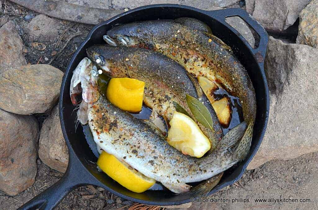 ~skillet steamed fresh mountain trout~
