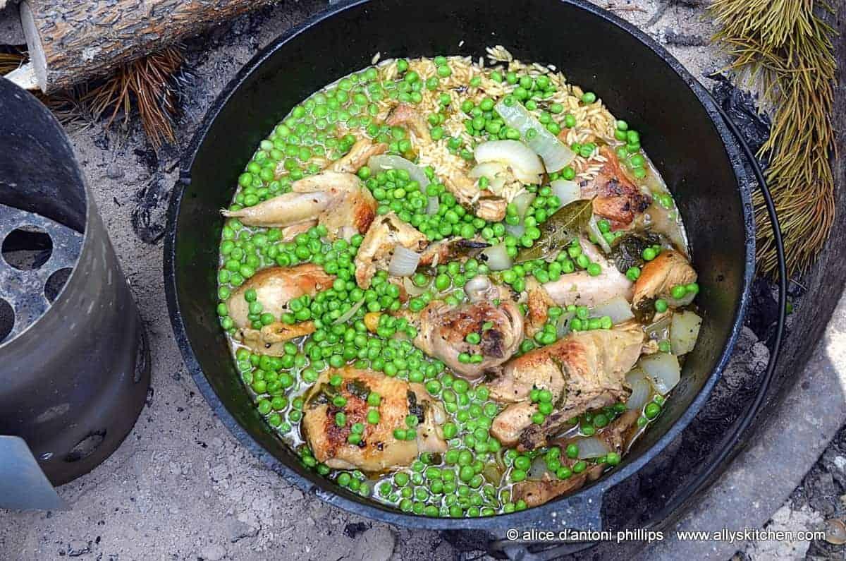 camping dutch oven garlic chicken