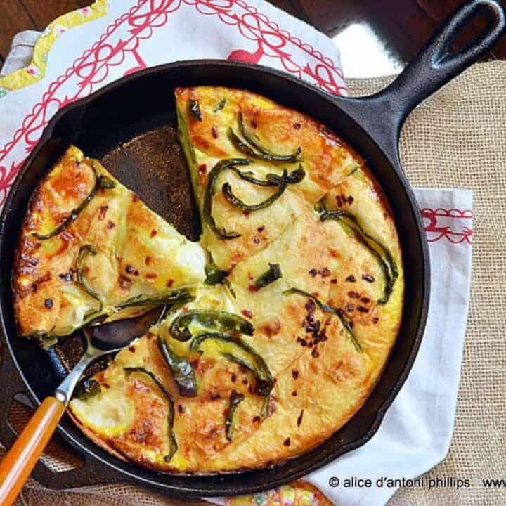 ~mozzarella zucchini egg tortilla skillet pie~