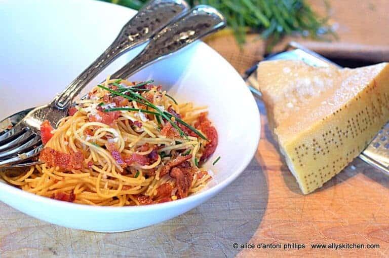 Pasta Alla Carbonara with Chives