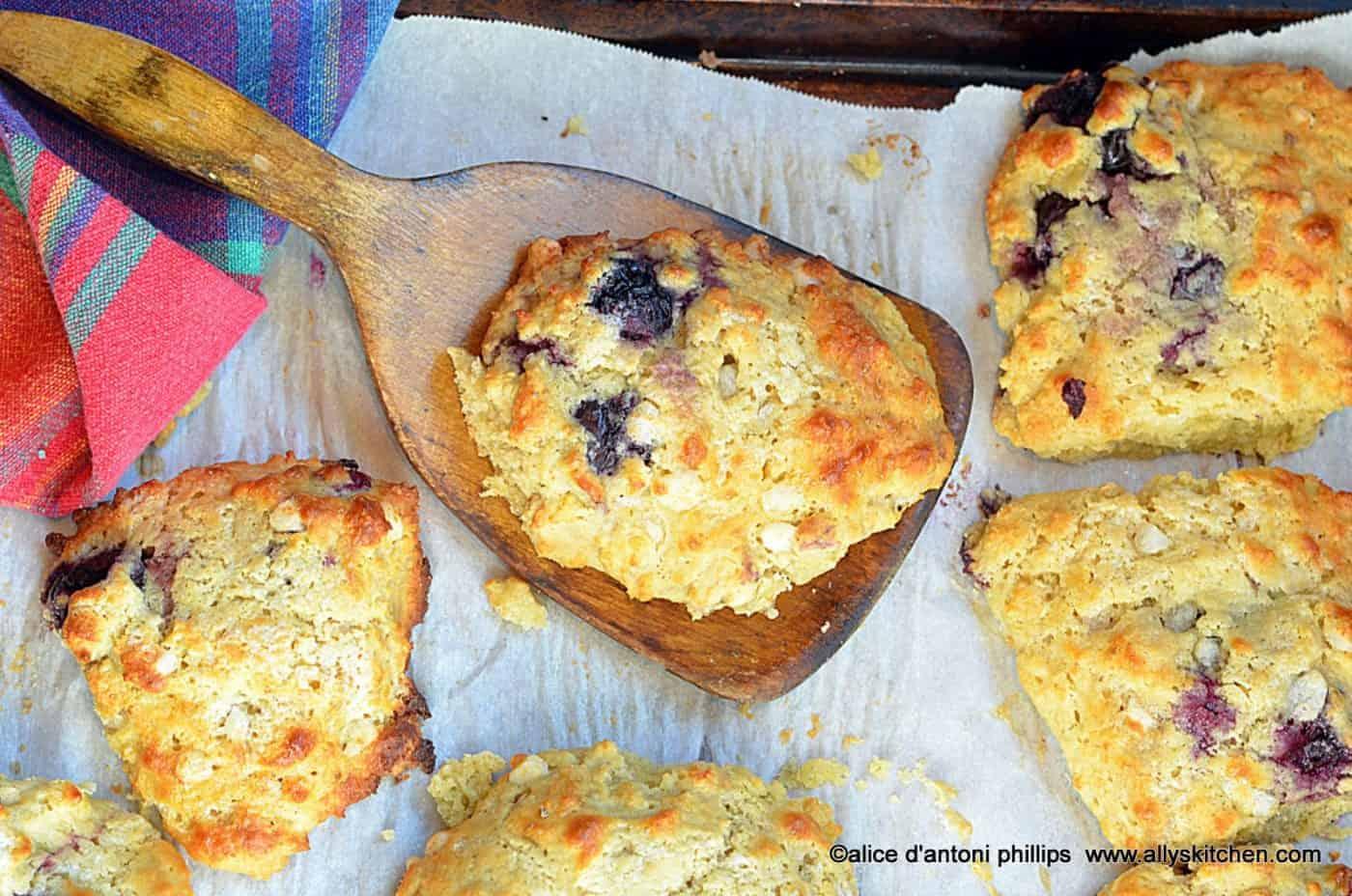 dark red cherry biscuit scones
