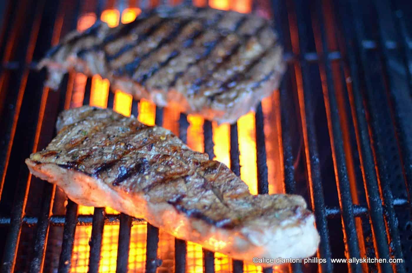 ~jamaicanJerk steak & grilled red poblano pepper~