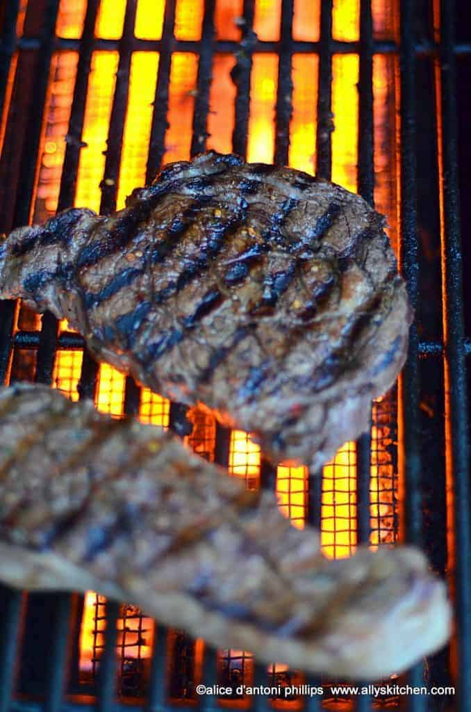 jamaican jerk steak & grilled red poblano pepper