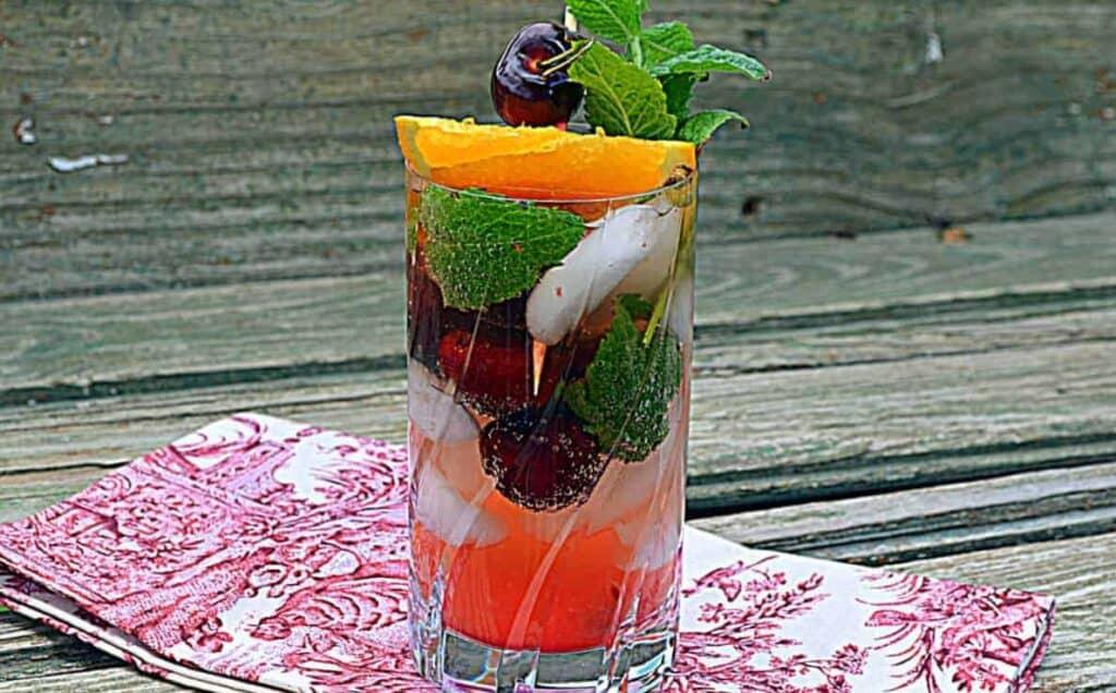 Mint Cherry Ginger Goddess Drink & Lemon Cubes