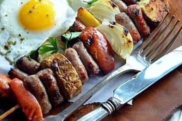 ~za'tar grilled sausage apple potato & onion skewers & a sunnyside egg~
