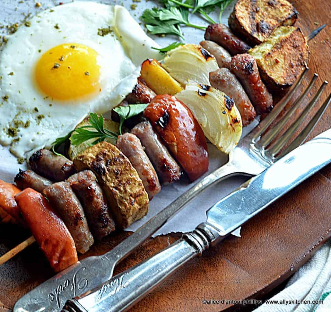 ~za'tar grilled sausage apple potato & onion skewers & a sunnyside egg~