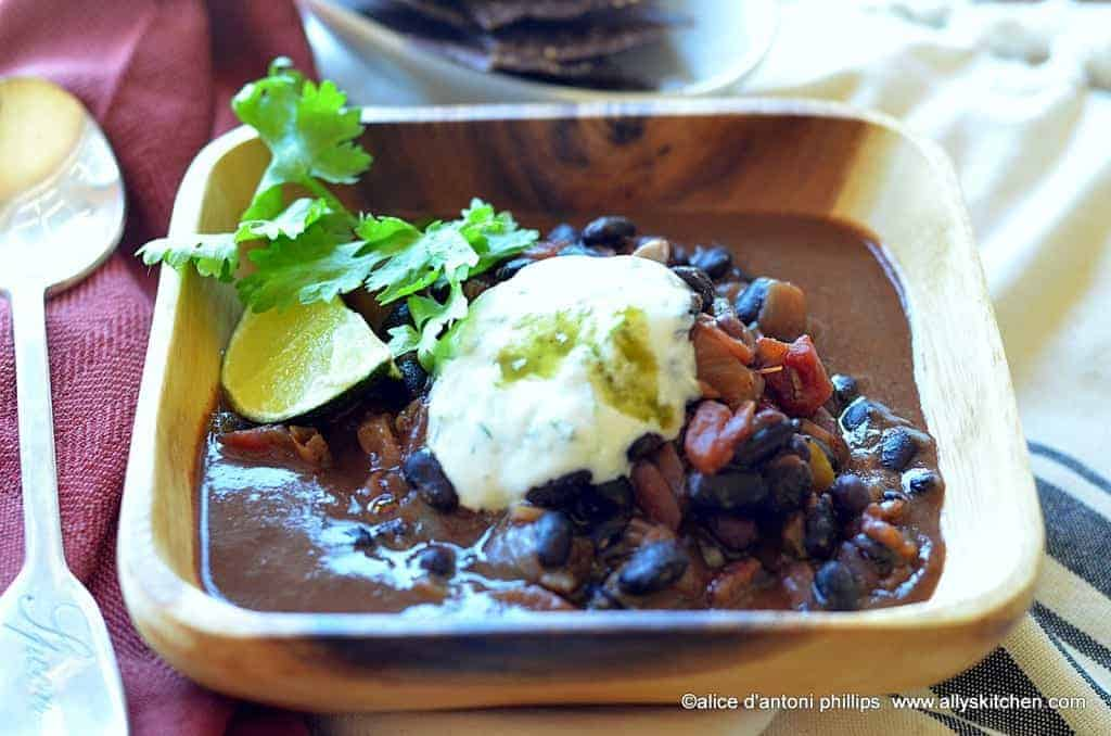 cuban black beans with yogurt sauce