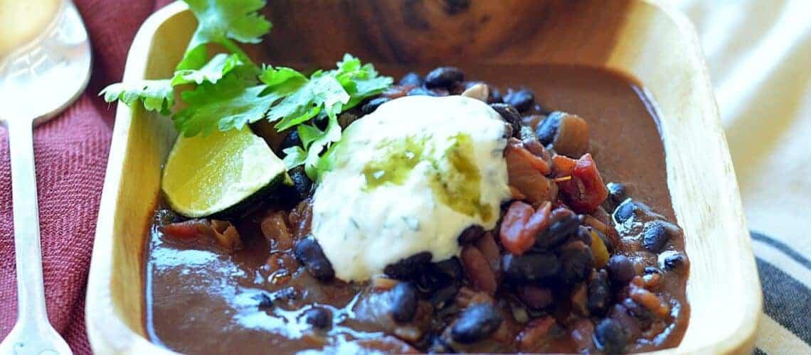cuban black beans with yogurt sauce