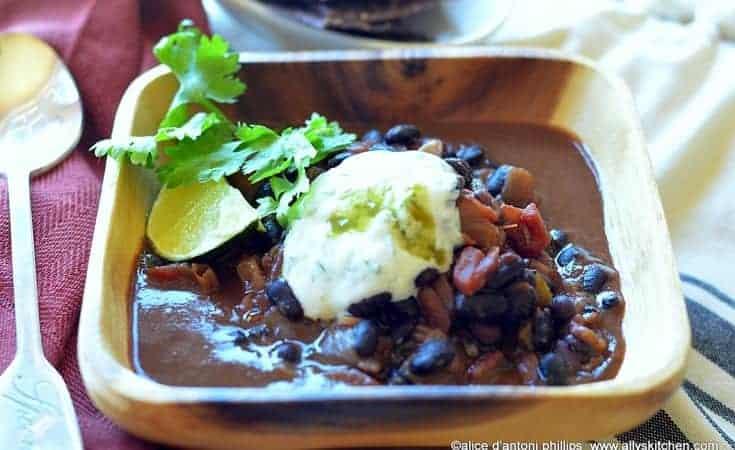 Cuban Black Turtle Beans with Yogurt Sour Cream Lime Cilantro Sauce