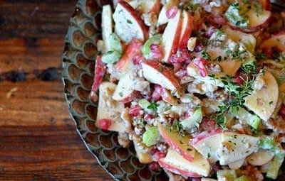 apple buttlermilk mint bleu cheese walnut salad