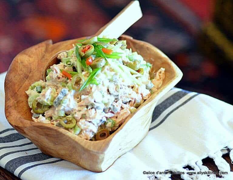 chunky fresh salmon scallion olive salad