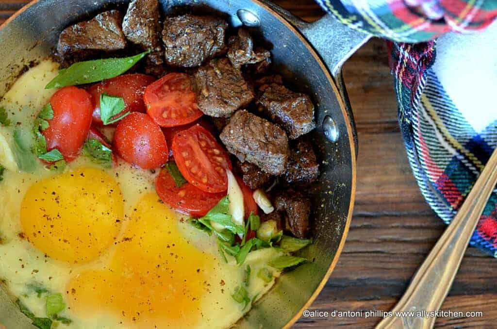 moroccan beef ribeye bites with steamed eggs tomatoes & green onions