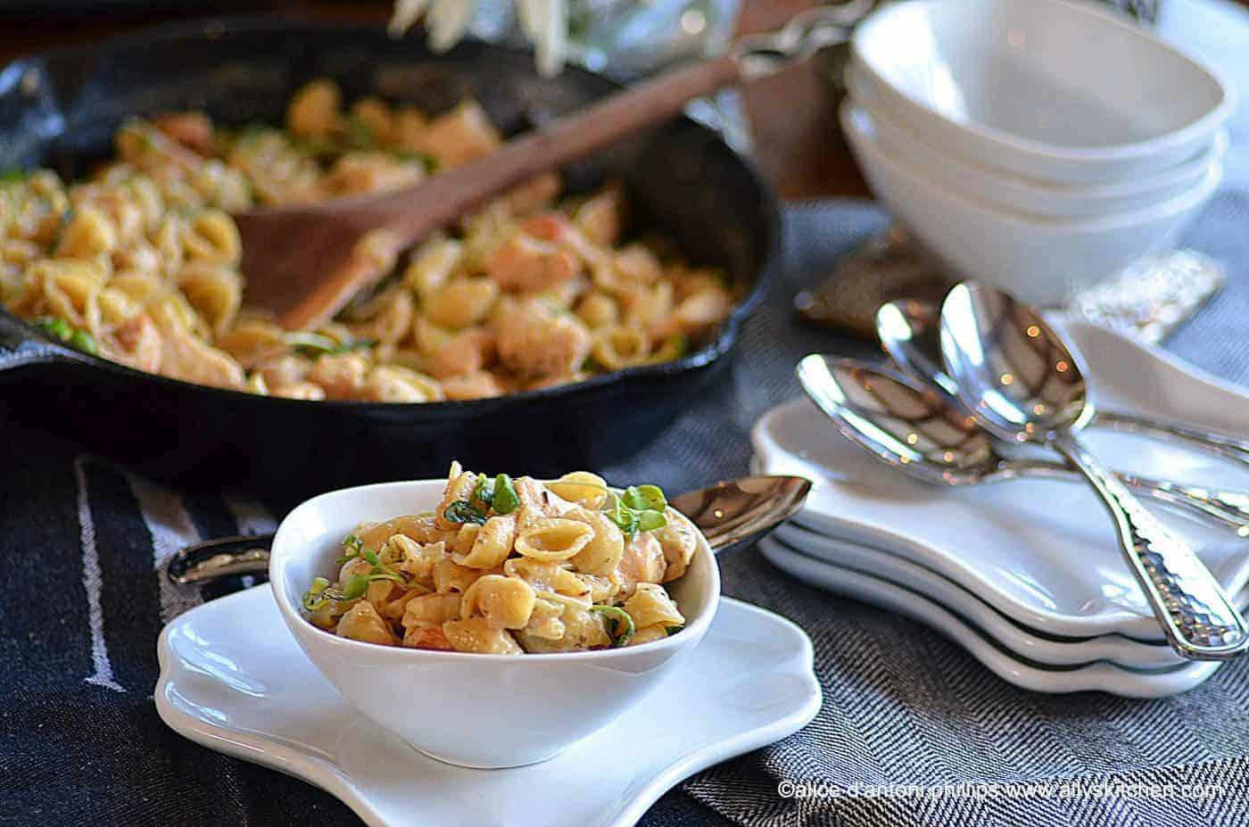 italian chicken with creamy garlic shells